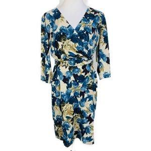 2/$20 Tacera Faux Wrap Floral Dress Blue Tan Sz M